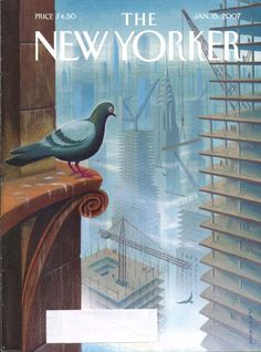 New Yorker Drooker pigeon high rise cover 1/15/2007