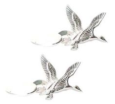 Duck Cufflinks - Silver Flying Duck Cufflinks by Murray Ward