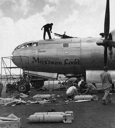 "The Boeing Superfortress ""Maximum Load"" of the Bomb Wing is prepared for a mission at North Field, Guam, April (U. Ww2 Aircraft, Military Aircraft, Bomber Plane, Airplane Art, Ww2 Planes, Vintage Airplanes, Nose Art, World War Two, Wwii"