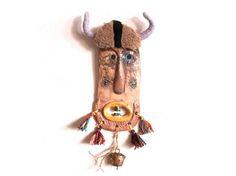 Folk art mask , Original ceramic mask ,Ceramic Mask , Ceramic wall mask by http://www.artmosfair.com/en/shop/99heads