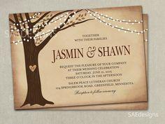 Autumn Fall Tree Wedding Invitation Invitations Invite Invites Elopement Announcement Announcements RSVP Cards Postcards Rust, Gold, Orange,