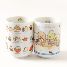 These fun **tea cups** are a perfect way to join in with the **Sumikko Gurashi** guys as they enjoy a cute sushi party! Choose from **Homemade Sushi Party** which has a cute illustration of the guys sitting round a table and enjoying some tasty looking sushi together, or **Sushi Costume Party** where they've all dressed up as their favorite type of sushi with a pun on their names written underneat...