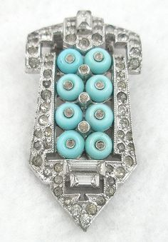 Trifari KTF Aqua 'Shoebutton' Dress Clip - Garden Party Collection Vintage Jewelry