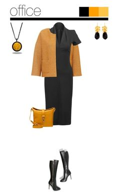 Office outfit: Black - Mustard by downtownblues on Polyvore #officewear  #michaelkors