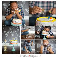 Adult cake smash photography session. Complete with a shot of tequila and a shot of sprinkles!