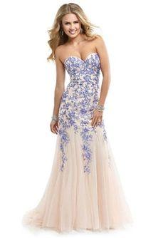 Trumpet /Mermaid Strapless Tulle Nude Lavender Tulle Prom Dress