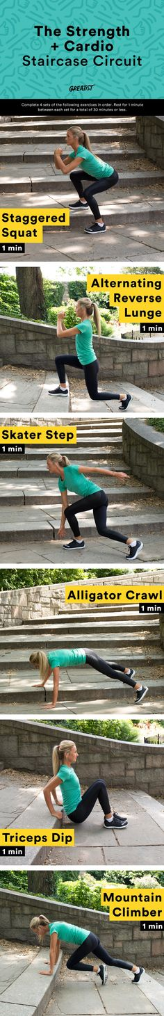 How to Use a Staircase to Take Your Workout to the Next Level Es ist Zeit, Ihr Training zu intensivieren. Best Weight Loss Plan, Easy Weight Loss, Healthy Weight Loss, Healthy Mind, Entrainement Full Body, At Home Workouts, Cardio Workouts, Exercise Moves, Fitness Workouts