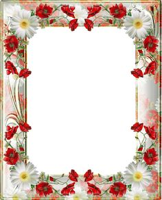 Transparent PNG Photo Frame with Yellow Poppies