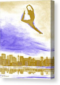 Canvas Print, figure,silhouette,dancer,ballerina,female,feminine,woman,girl,dancing,leaping,jumping,ballet,form,shape,dreamscape,skyscape,free,lone,motion,movement,celestial,elegant,graceful,sky,city,buildings,skyline,contemporary,modern,surreal,fantasy,gold,golden,white,blue,purple,colorful,tricolore,bright,colors,high,artistic,decor,in,at,on,above,over,of,the,fine,art,mixed,media,digital,painting,artworks,products,items,for sale,online,fine art america