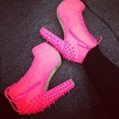 shoes pink thick heels spikes