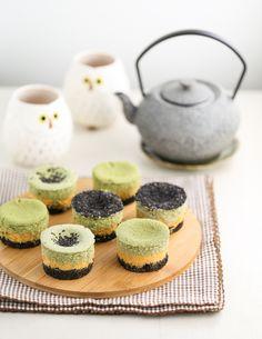 Matcha Pumpkin Cheesecakes with Black Sesame Crust
