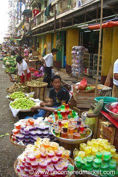 Street Market in Yangon, Myanmar. Theingyi Zei market in Rangoon, Burma (Yangon, Myanmar).