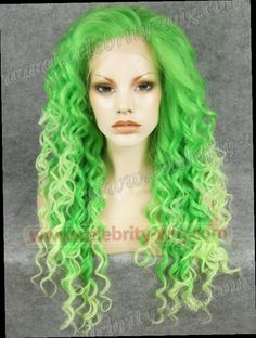 53.00$  Watch here - http://alijaj.worldwells.pw/go.php?t=1579944104 - N18-TF2605/TF2606  Stunning Curly gree cosplay kanekalon wig Synthetic Lace Front Wig 53.00$