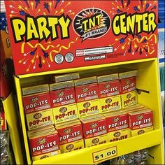 Don't take TNT Party Center Fireworks Displays too seriously. The brand is TNT … the self-proclaimed Brand. But this is not real TNT. Fireworks Box, Fireworks Displays, Retail Fixtures, Party Poppers, Have Some Fun, Cute Drawings, Fourth Of July, Accessories, Pretty Drawings