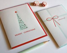 Letterpress Christmas Cards - Set of two greeting cards