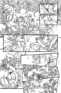 "pencil version of a page of the mini-serie ""world of warcraft-curse of the worgen"" color version on the page of the great Tony Washington ! Comic Book Layout, Comic Book Pages, Comic Book Artists, Comic Books Art, Comic Art, Bd Comics, Manga Comics, Storyboard, Comic Tutorial"