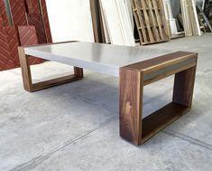 Polished concrete and walnut coffee table. Concrete Furniture, Concrete Wood, Concrete Design, Polished Concrete, Diy Furniture, Furniture Design, Business Furniture, Outdoor Furniture, Steel Furniture