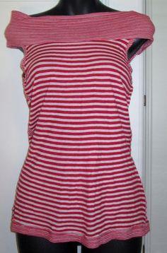 ANTHROPOLOGIE Left of Center Red White Stripe Sleeveless Banded Shirt Top Small