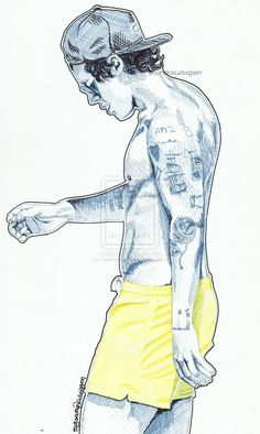 Harry Styles and his neon yellow shorts by ludvigsen.deviantart.com on @deviantART