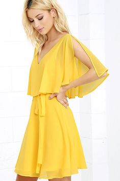 Lulus Exclusive! Let your look soar above the clouds with the Butterfly With Me Yellow Dress! A layer of breezy Georgette falls from a V-neck, to slit short sleeves, and a fluttering flounce. Fitted waist (with tying sash belt) flares to a skater skirt. Hidden back zipper.