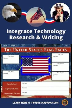 Teaching about American symbols such as the bald eagle, the US flag and Liberty Bell come alive with this digtial interactive notebook for Google Slides. This research project uses linked videos and websites for students in grades 3, 4, and 5 to learn about the most iconic symbols of America.  Students learn the history and the symbolism behind the flag, bald eagle, Liberty Bell, Uncle Sam, The Star Spangled Banner and the Great Seal of the United States. Discover and learn more! #twoboysadnadad Spangled Banner, Star Spangled, Interactive Read Aloud, Interactive Notebooks, Websites For Students, Teaching American History, Math Coach, Research Writing, American Symbols