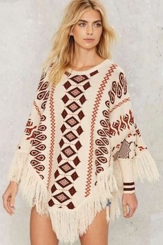 Print All Over Me Fringe Poncho - Last Chance | Knits | Pullover