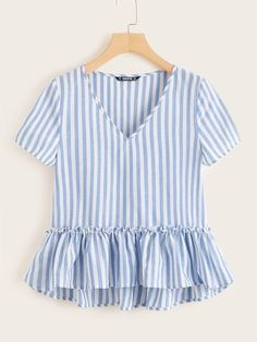 Shop Frill Trim Striped Smock Blouse at ROMWE, discover more fashion styles online. Men's Fashion, Fashion News, Fashion Outfits, Fashion Styles, Bolero, Summer Shirts, Blouses For Women, Women's Blouses, Cute Blouses