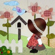 Sunbonnet sue in garden More mug rug idea Patchwork Quilting, Applique Quilts, Embroidery Applique, Applique Templates, Applique Patterns, Quilt Patterns, Sunbonnet Sue, Quilting Projects, Sewing Projects