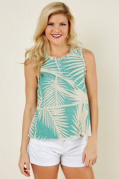 Beach Adventure Green Print Top at reddressboutique.com