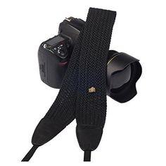 Eggsnow SLR/DSLR Camera Knit Broaden Neck Shoulder Strap Belt - Black