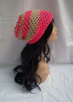 "Burst Slouchy Beanie - Skittles Collection - Pink by Tzigns on Etsy $25  -- LIKE MY PAGE >  www.facebook.com/tzigns -- SHOP > www.tzigns.etsy.com Coupon code ""Pin10"" saves you 10%! #christmas #gift #giftguide #giftsforher #crochet #etsy #yarn"