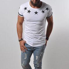 T-Shirt NY New York City USA Stars Street Fashion White Top Longshirt Tee 876