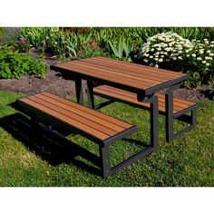 Lifetime Products Wood Grain Convertible Folding Picnic Table —table converts to two benches.