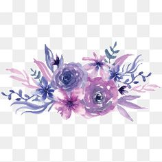 Watercolor purple flowers PNG Image and Clipart Free Watercolor Flowers, Cherry Blossom Watercolor, Watercolor Rose, Watercolor Paintings, Watercolor Background, Flower Images, Flower Art, Crown Painting, Pink And Purple Flowers