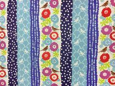 Echino by Etsuko Furuya - Cotton Linen Fabric - Peck EF701 Blues, select a length