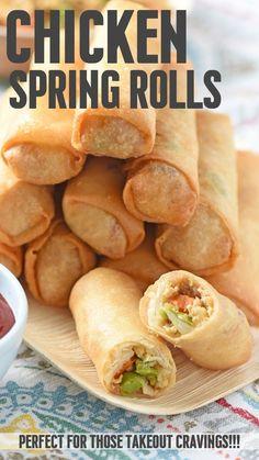 Chicken Spring Rolls, Easy Chicken Spring Roll Recipe, Fried Spring Rolls, Cauliflower Recipes, Cauliflower Rice, Side Dish Recipes, Asian Recipes, Food Tasting, Asian Cooking