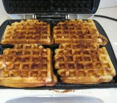 Cinnamon Roll Waffles... Place 4 cinnamon rolls on waffle maker. Close lid, and check until done. Don't go by the light on your waffle maker.