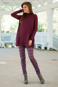 """How adorable are these striped leggings! In such gorgeous colors and material so comfy, these bad boys are truly irresistible!   Material has minimal amount of stretch. Elastic waistband.  Miranda is wearing the small.   Length from waist to hem/inseam/rise: S- 38""""/28""""/11.5""""; M- 39""""/28.5""""/12""""; L- 40""""/29""""/12.5"""""""