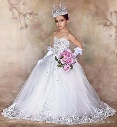 Beautiful Flower Girls' Dresses For Weddings Beads Sweetheart Floor Length Pageant Dress For Girls 2016 Lace Applique Girls Party Dress