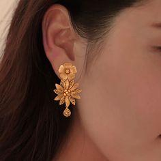 Asamanja Floral Gold Dangler Earrings - Jewellery