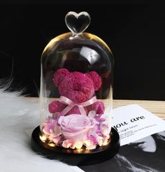 The bear represents your most important person let it be a friend, lover, parents or a life partner the one's stood by your side at difficult times and protected you. This design is inspired by Bear's significance and the admirable beauty of rose. Romantic Roses, Beautiful Roses, Rose Dome, Real Flowers, Artificial Flowers, Dried Flowers, Glass Material, Love Symbols, Glass Domes