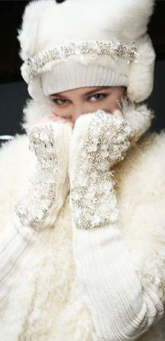 Diamond Studded  Hat and Gloves