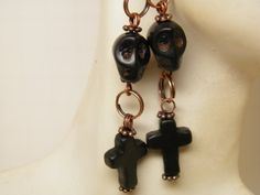 Handcrafted Day of the Dead Earrings with Black Turquoise Crosses, Black Turquoise Sugar Skulls, and Copper French Style Ear Wires by MelancholyMind on etsy.com