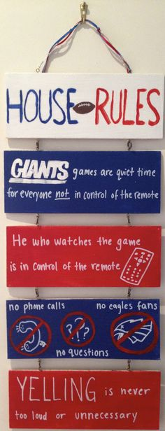 NY Giants Wall Art I made for Father's Day. I saw something similar at a store but changed some of the words to make them more relevant to my dad. Go Giants! I used screw eyes and wire to hold the piece together. New York Football, Giants Football, Nfl Football Teams, Best Football Team, Ny Yankees, New York Giants, Football Season, Nfl Season, Ny Giants Man Cave Ideas