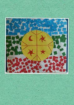 Bandera mapuche realizada por niños.