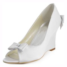 52.21$  Watch now - http://ali6xy.shopchina.info/go.php?t=32723014094 - New Crystal Talones Wedding Heels Women's Peep Toe Party Banquet  Bowtie Satin Wedge Height Increasing Shoes Pumps 400-3 ZHL  #aliexpressideas
