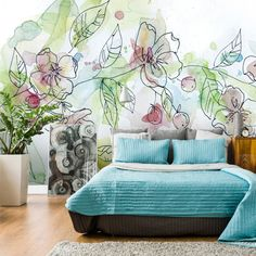 Wallpaper Mural Tricks: How to Choose and Install Bedroom Murals, Bedroom Wall, Mural Art, Wall Murals, Doodle Wall, Earthy Home Decor, Home Wallpaper, Wall Design, Home Interior Design