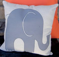 Grey Elephant Pillow by ChapmanPlace on Etsy, $18.00