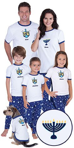 Send the whole family these fun PJs for Chanukah and watch their faces light up! Short-sleeve ringer tees are paired with full-length pants with all-over star print. Men's, Boys, Girls and Pets have a dreidel design. Women's, Toddlers and Infants styles How To Celebrate Hanukkah, Happy Hanukkah, Hannukah, Jewish Hanukkah, Hanukkah Food, Christmas Pajamas, Christmas Dog, Christmas Costumes, Matching Family Pajamas