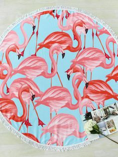 To find out about the Flamingo Print Fringe Trim Round Beach Blanket at SHEIN, part of our latest Beach Accessories ready to shop online today! Flamingo Beach Towel, Flamingo Pool, Flamingo Print, Bikini Sets, Beach Hacks, Red Bedding, Beach Blanket, Red Blanket, Beach Picnic